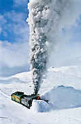 A Whitepass train makes the first spring run over the summit from Skagway Alaska, to Fraser BC.