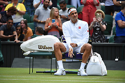 Roger Federer (SWI) during his first round match at the 2019 Wimbledon Championships at the AELTC in London, UK on July 2, 2019. Photo by Corinne Dubreuil/ABACAPRESS.COM