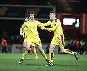 Burnley midfielder Joey Barton celebrating scoring from free kick during the Sky Bet Championship match between Brentford and Burnley at Griffin Park, London, England on 15 January 2016. Photo by Matthew Redman.