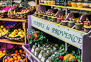 Herb and produce vendor, St Paul de Vence, Provence, France