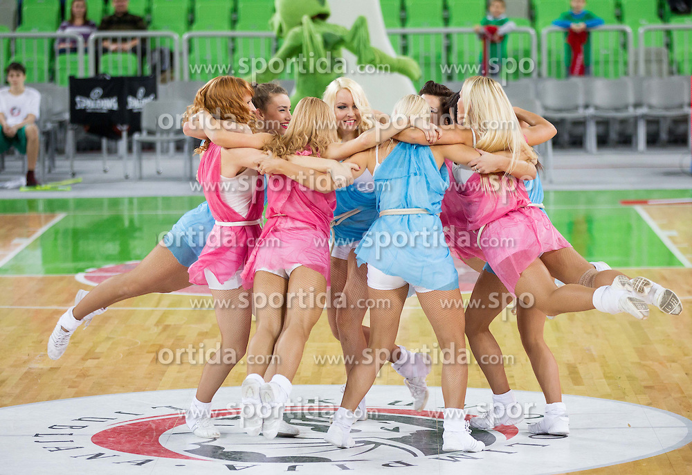Cheerleaders Dragon Ladies perform during basketball match between KK Union Olimpija and Khimki Moscow Region (RUS) in 9th Round of Regular season of Euroleague 2012/13 on December 7, 2012 in Arena Stozice, Ljubljana, Slovenia. (Photo By Vid Ponikvar / Sportida)
