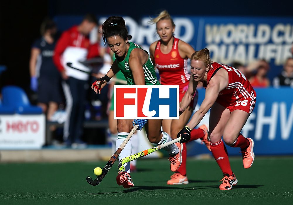 JOHANNESBURG, SOUTH AFRICA - JULY 16:  Anna O'Flanagan of Ireland battles with Nicola White of England during day 5 of the FIH Hockey World League Women's Semi Finals Pool A match between England and Ireland at Wits University on July 16, 2017 in Johannesburg, South Africa.  (Photo by Jan Kruger/Getty Images for FIH)