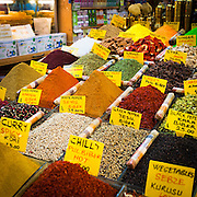 Turkey, Istanbul Spices on display at the Spice Bazaar.