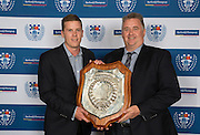 The Gallaher Shield, the ultimate prize in Auckland Club Rugby, was won by the Suburbs team beating Grammar TEC in the Shield Final.  Carl Perry (L) with Suburbs Chairman, Stefan Crooks receive this trophy on behalf of the team. Auckland Rugby Union Awards 2016, Eden Park, Auckland, New Zealand on Wednesday, October 26, 2016. Copyright photo: David Rowland / www.photosport.nz