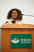 Winsome Chunnu-Brayda addresses assembled administrative staff during her acceptance speech after being names an outstanding administrator at OU. Photo by: Ross Brinkerhoff.