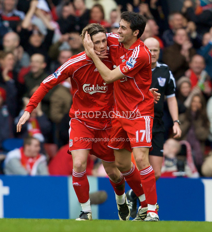 LIVERPOOL, ENGLAND - Saturday, February 23, 2008: Liverpool's Fernando Torres celebrates scoring the equaliser against Midlesbrough with Alvaro Arbeloa during the Premiership match at Anfield. (Photo by David Rawcliffe/Propaganda)