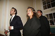 Alasdair Willis and Zaha Hadid, , Established and Sons celebrate the launch of a Red Production 'Aqua Table' by Zaha Hadid. ( Profits from Sales will go to Red Campaign HIV treatment in Africa) Grosvenor Place. London. 23 September 2006.  ONE TIME USE ONLY - DO NOT ARCHIVE  © Copyright Photograph by Dafydd Jones 66 Stockwell Park Rd. London SW9 0DA Tel 020 7733 0108 www.dafjones.com