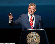 """Bill de Blasio delivering the New York City State of the City Address at the Apollo Theater in New York City on February 13, 2017. - . - See more images by clicking on """"Image Galleries +"""" at the top left of this page, then selecting """"All Galleries"""" and then selecting """"Bill de Blasio"""""""