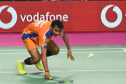 January 13, 2018 - Hyderbad, Telangana, India - S. Verma of Ahmedabad Smash Masters in against during PBL 2nd Semi Final Bengaluru Blasters Vs Amhedabad Smash Masters (Credit Image: © Varun Kumar Mukhia/Pacific Press via ZUMA Wire)