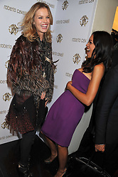 Left to right, EVA HERZIGOVA and ROSARIO DAWSON at a party hosted by Roberto Cavalli to celebrate his new Boutique's opening at 22 Sloane Street, London followed by a party at Battersea Power Station, London SW8 on 17th September 2011.
