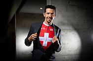 Le Matin Dimanche <br /> Le cycliste Steve Morabito ce jeudi 14 février 2019 à Martigny (au CERM), pose avec son maillot de champion Suisse, il parle du changement de sa carrière.<br /> (OLIVIER MAIRE)