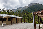 Clinton Hut. The Milford Track in Fiordland National Park, Southland region, South Island of New Zealand. In 1990, UNESCO honored Te Wahipounamu - South West New Zealand as a World Heritage Area.