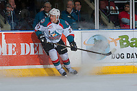 KELOWNA, CANADA - JANUARY 7: Calvin Thurkauf #27 of the Kelowna Rockets stops on the ice against the Kamloops Blazers on January 7, 2017 at Prospera Place in Kelowna, British Columbia, Canada.  (Photo by Marissa Baecker/Shoot the Breeze)  *** Local Caption ***