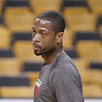 01 June 2012: Miami Heat shooting guard Dwyane Wade (3) warms up prior to Game 3 of the Eastern Conference Finals playoff series, Heat vs Celtics at the TD Banknorth Garden, Boston, Massachusetts, USA.