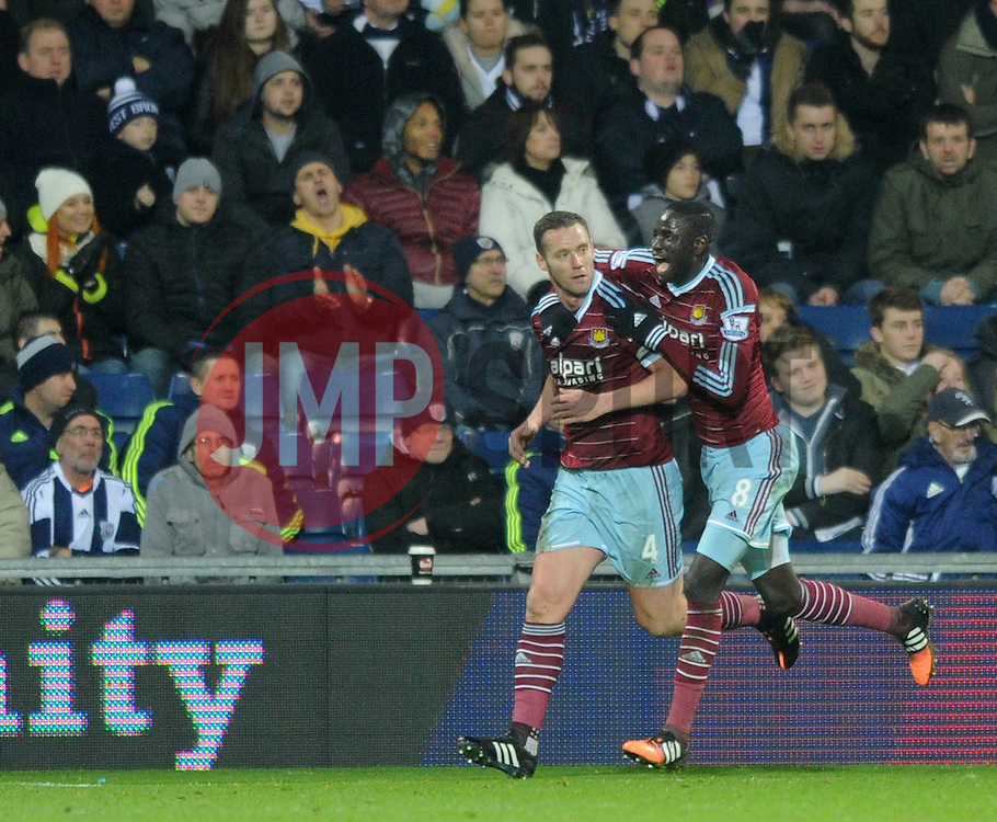 West Ham's Kevin Nolan celebrates his goal with West Ham's Cheikhou Kouyate - Photo mandatory by-line: Dougie Allward/JMP - Mobile: 07966 386802 - 02/12/2014 - SPORT - Football - West Bromwich - The Hawthorns - West Bromwich Albion v West Ham United - Barclays Premier League