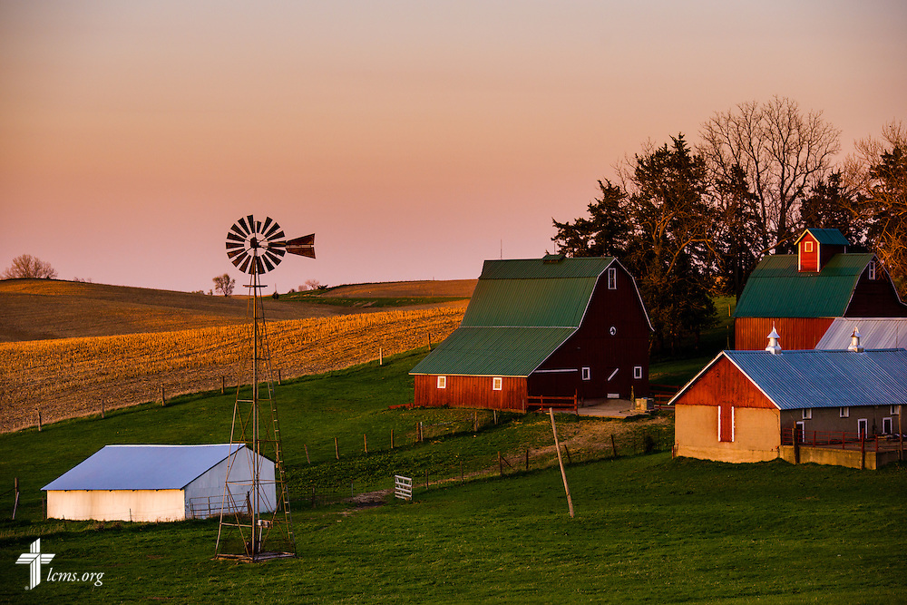 The sun sets over a farm near Mission Central on Wednesday, April 22, 2015, in Mapleton, Iowa. LCMS Communications/Erik M. Lunsford