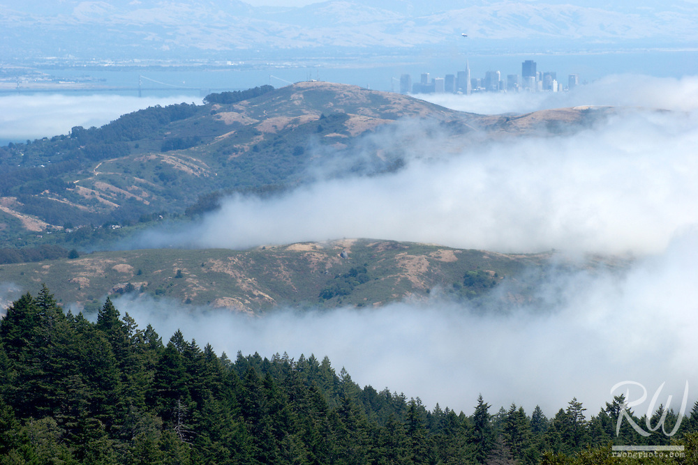Downtown San Francisco City Skyline and Marin Headlands Transpression Ridges Fog, Mount Tamalpais State Park, California