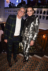 Sir Paul Smith and Victoria Pendleton at reception to celebrate the launch of the Claridge's Christmas Tree 2017 at Claridge's Hotel, Brook Street, London England. 28 November 2017.