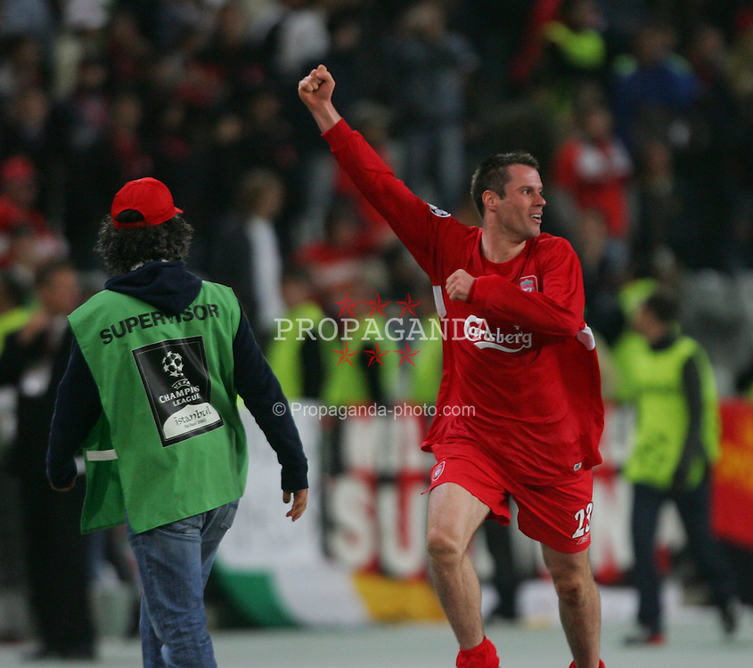 ISTANBUL, TURKEY - WEDNESDAY, MAY 25th, 2005: Liverpool's Jamie Carragher celebrates winning the penalty shoot-out against AC Milan during the UEFA Champions League Final at the Ataturk Olympic Stadium, Istanbul. (Pic by David Rawcliffe/Propaganda)