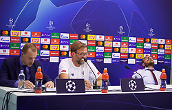 NAPLES, ITALY - Monday, September 16, 2019: Liverpool's manager Jürgen Klopp and press officer Matt McCann during a press conference at the Stadio San Paolo ahead of the UEFA Champions League Group E match between SSC Napoli and Liverpool FC. (Pic by David Rawcliffe/Propaganda)