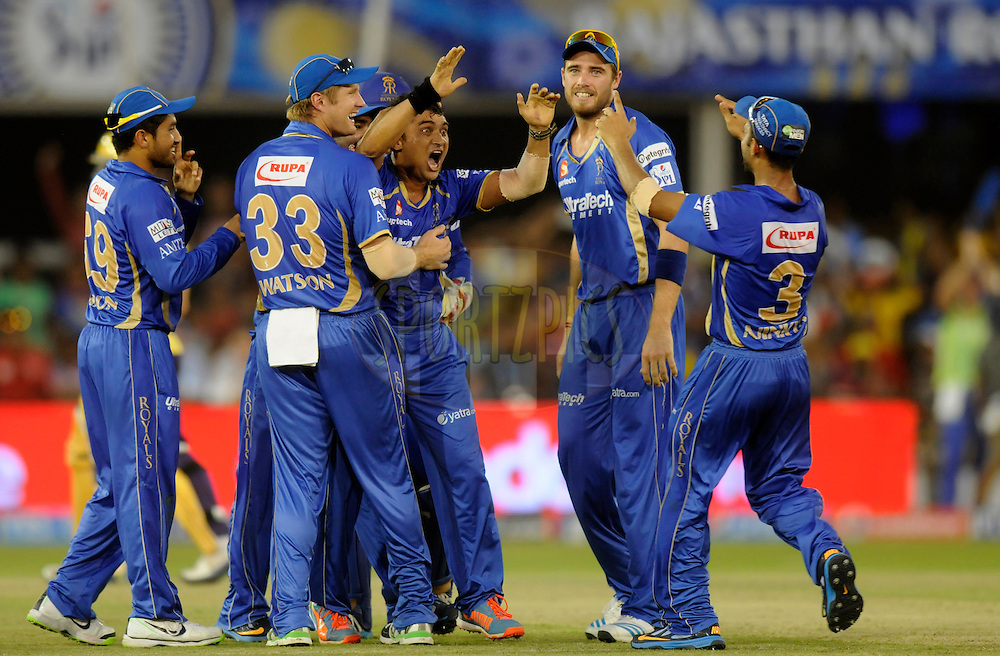 Pravin Tambe of the Rajatshan Royals celebrates after taking the hat-trick of Ryan Ten Doeschate of the Kolkata Knight Riders during match 25 of the Pepsi Indian Premier League Season 2014 between the Rajasthan Royals and the Kolkata Knight Riders held at the Sardar Patel Stadium, Ahmedabad, India on the 5th May  2014<br /> <br /> Photo by Pal Pillai / IPL / SPORTZPICS      <br /> <br /> <br /> <br /> Image use subject to terms and conditions which can be found here:  http://sportzpics.photoshelter.com/gallery/Pepsi-IPL-Image-terms-and-conditions/G00004VW1IVJ.gB0/C0000TScjhBM6ikg