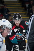 KELOWNA, CANADA - NOVEMBER 20:  Tyson Baillie #24 of the Kelowna Rockets faces off against the Victoria Royals on November 20, 2013 at Prospera Place in Kelowna, British Columbia, Canada.   (Photo by Marissa Baecker/Shoot the Breeze)  ***  Local Caption  ***