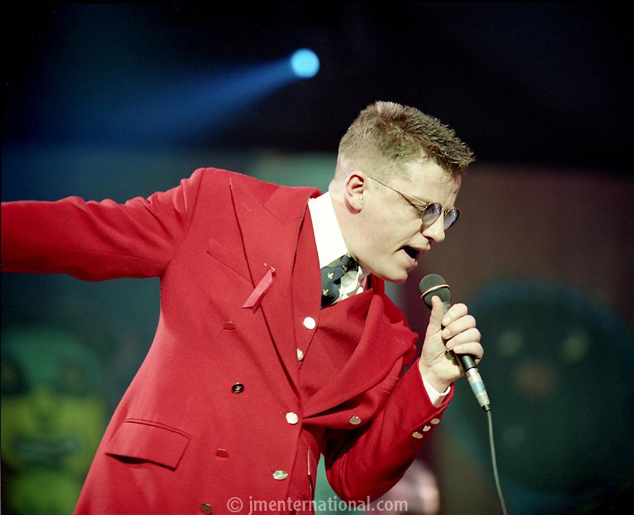 Suggs of Madness, The BRIT Awards 1993 <br /> Tuesday 16 Feb 1993.<br /> Alexandra Palace, London, England<br /> Photo: John Marshall - JM Enternational