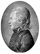 Novalis (pseudonymn of Friedrich von Hardenberg 1772-1801) German Romantic poet and novelist. 'Prophet of Romanticism'. Engraving