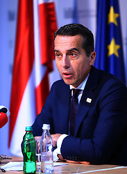 BRATISLAVA, Sept. 17, 2016 (Xinhua) -- Austrian Chancellor Christian Kern attends a press conference after an informal European Union (EU) summit in Bratislava, Slovakia, Sept. 16, 2016. EU members on Friday issued a joint declaration, formulating a road map for the bloc to tackle challenges, said Slovak Prime Minister Robert Fico. (Xinhua/Gong Bing) (wtc) (Credit Image: © Gong Bing/Xinhua via ZUMA Wire)