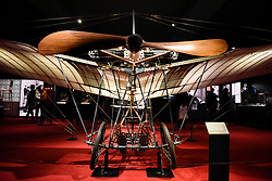 "© Licensed to London News Pictures. 23/05/2017. London, UK.   Detail of a replica Santos-Dumont 20 aeroplane at the press preview of ""Cartier in Motion"", an exhibition on Cartier,  co-curated by celebrated architect Lord Norman Foster and Design Museum director Deyan Sudjic, at the Design Museum in London.    The exhibition runs from 25 May to 28 July 2017. Photo credit : Stephen Chung/LNP"