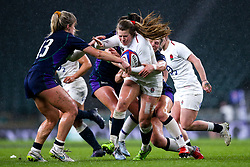 Zoe Harrison of England Women is tackled - Mandatory by-line: Robbie Stephenson/JMP - 16/03/2019 - RUGBY - Twickenham Stadium - London, England - England Women v Scotland Women - Women's Six Nations