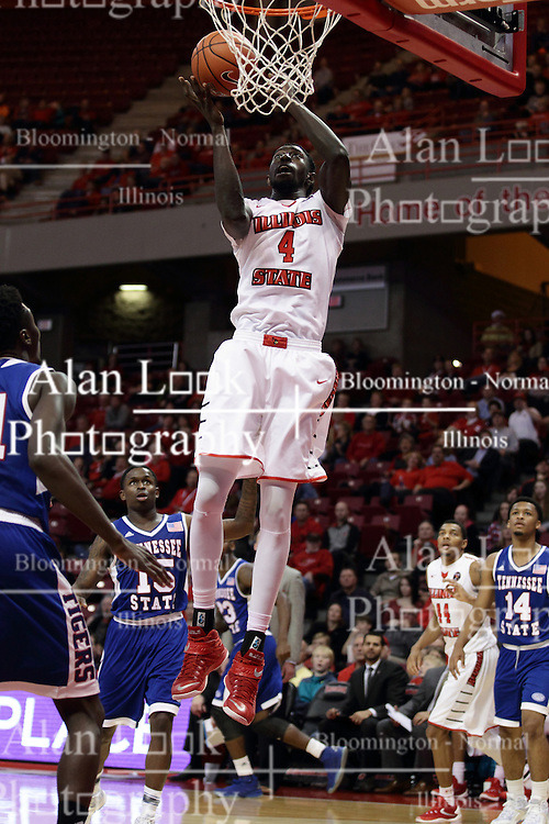 """22 December 2015: Daouda """"David"""" Ndiaye (4) gets free inside for a pair of points. Illinois State Redbirds host the Tennessee State Tigers at Redbird Arena in Normal Illinois (Photo by Alan Look)"""