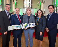 07/09/2017   Minister Denis Naughten  who announced a joint venture between enet and SSE which will roll-out superfast broadband to 115,000 premises in regional Ireland with from Left Kevin Kelly Galway Co Co, Cllr Michael Connolly, Minister, Hannah Kiely Galway 2020, Cllr Eileen Mannion Cathaoirleach Galway CoCo  and Mark O'Donnell G2020.<br />  Photo:Andrew Downes, xposure