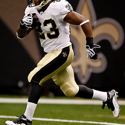 August 21, 2010; New Orleans, LA, USA; New Orleans Saints running back Pierre Thomas (23) during warm ups prior to kickoff of a preseason game against the Houston Texans at the Louisiana Superdome. Mandatory Credit: Derick E. Hingle