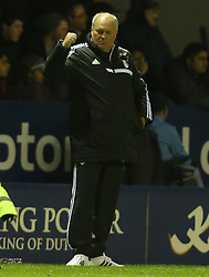 Fulham Manager, Martin Jol celebrates drawing level with a couple of minutes to go - Photo mandatory by-line: Matt Bunn/JMP - Tel: Mobile: 07966 386802 29/10/2013 - SPORT - FOOTBALL - King Power Stadium - Leicester City - Leicester City v Fulham - Capital One Cup - Forth Round