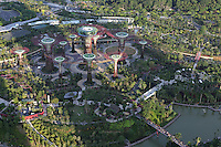 Aerial view of Supertree Grove at Gardens By the Bay in Singapore.