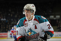 KELOWNA, CANADA, FEBRUARY 15: Myles Bell #29 of the Kelowna Rockets skates on the ice at the Kelowna Rockets on February 15, 2012 at Prospera Place in Kelowna, British Columbia, Canada (Photo by Marissa Baecker/Shoot the Breeze) *** Local Caption ***