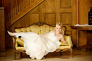 Bride on Victorian Coach at Josef Winery in the Willamette Valley