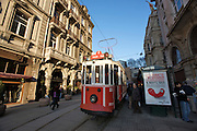 Istanbul. Tramway through Istiklal Street pedestrian zone, at Tu?nel station.