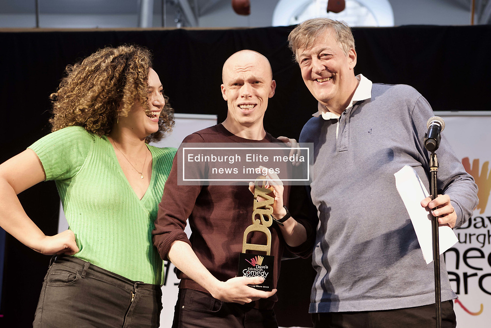 Jordan Brookes, winner of the Best Show at the Edinburgh Comedy Awards, with last year's winner Rose Matafeo and Stephen Fry, winner in 1981, Dovecot Studios. pic. Terry Murden @edinburghelitemedia