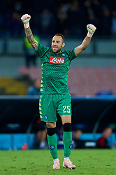 NAPLES, ITALY - Wednesday, October 3, 2018: Napoli's goalkeeper David Ospina celebrates his side's 1-0 victory during the UEFA Champions League Group C match between S.S.C. Napoli and Liverpool FC at Stadio San Paolo. (Pic by David Rawcliffe/Propaganda)