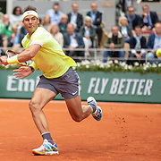 PARIS, FRANCE June 07.  Rafael Nadal of Spain in action against Roger Federer of Switzerland on Court Philippe-Chatrier during the Men's Singles Semifinals match at the 2019 French Open Tennis Tournament at Roland Garros on June 7th 2019 in Paris, France. (Photo by Tim Clayton/Corbis via Getty Images)