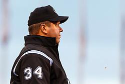 June 6, 2011; San Francisco, CA, USA;  MLB umpire Sam Holbrook (34) during the third inning between the San Francisco Giants and the Washington Nationals at AT&T Park.  San Francisco defeated Washington 5-4 in 13 innings.