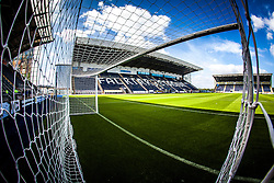 The Main Stand at The Falkirk Stadium, with the new pitch, for the Scottish Championship game v Hamilton. The woven GreenFields MX synthetic turf and the surface has been specifically designed for football with 50mm tufts compared with the longer 65mm which has been used for mixed football and rugby uses.  It is fully FFA two star compliant and conforms to rules laid out by the SPL and SFL.<br />