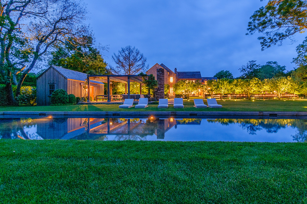 Estate With Swimming Pool, Dusk, Further Lane, Amagansett, NY, Long Island, New York