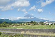Mt Fuji is seen from Fujinomiya City, Shizuoka Prefecture Japan on 01 Oct. 2012.  Photographer: Robert Gilhooly