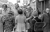Johnny McQuade, aka John McQuade, Democratic Unionist Party, candidate,  West Belfast in the UK General Election October 1974, canvassing support on the Shankill Road. He is accompanied by DUP leader Rev Ian Paisley, left, and Ulster Unionist politician, John Laird. McQuade was unsuccessful. 197410090526d<br />