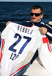 Miha Rebolj at whale watching boat when Poloncic (18), Golicic (17), Rebolj (27) and Razingar (9) were celebrating an anniversary of playing for Slovenian National Team for 100 (120) times, during IIHF WC 2008 in Halifax,  on May 07, 2008, sea at Halifax, Nova Scotia,Canada.(Photo by Vid Ponikvar / Sportal Images)