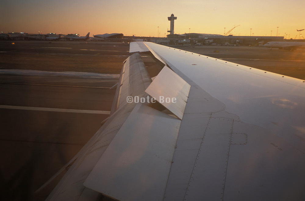 The wing of an airplane during landing