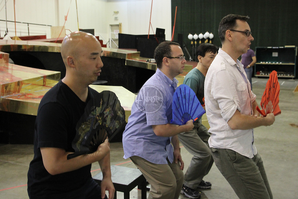 Turandot Staging #1, Seattle Opera, July 11, 2012. Renaud Doucet, Patrick Carfizzi, Julius Ahn, and Joseph Hu.